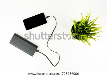 Smartphone Connected To Portable Battery Charger Next To Green Plant On White Background Top View #725959006