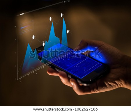 Smartphone finance and business analysis concept