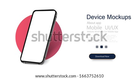 Smartphone frame less blank screen, rotated position. 3d isometric illustration cell phone. Smartphone perspective view. Template for infographics or presentation UI design interface.