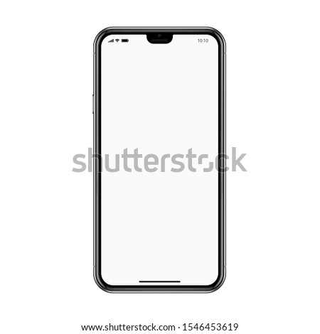 smartphone frameless black color with a blank touch screen saver isolated on the white background. realistic and detailed mobile phone mockup. stock raster illustration