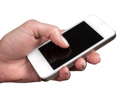 Smartphone hold in the woman hand on a white background