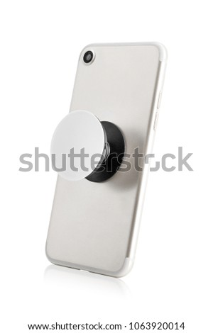 Smartphone holders isolated on white background. Blank mobile grip for design. ( Clipping path )