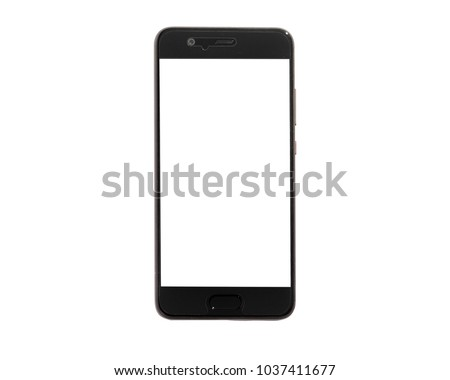 smartphone in black color isolated on white background