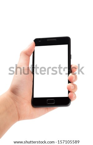 Smartphone in female hand on white background