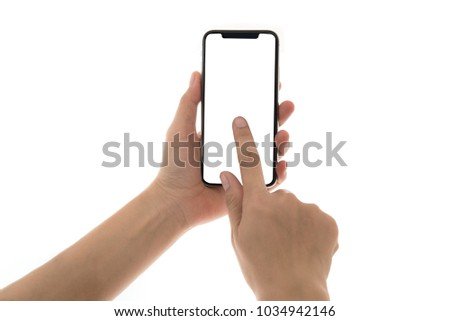 Smartphone in female hands taking photo isolated on white blackground #1034942146