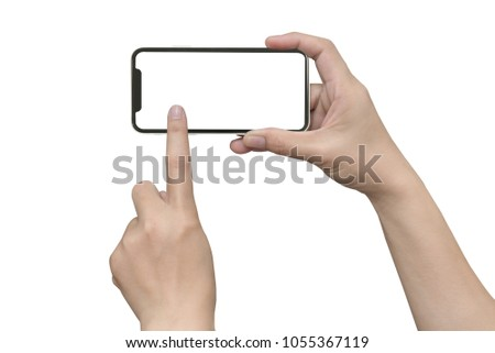 Smartphone in female hands taking photo isolated on white blackground #1055367119