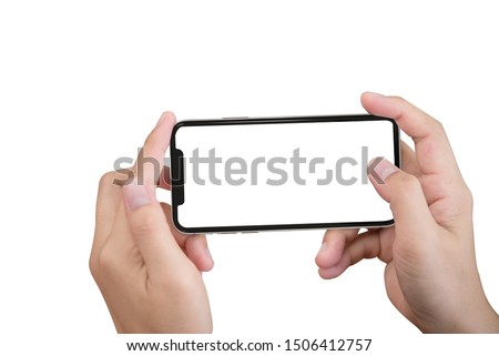 Smartphone in female hands taking photo isolated on white blackground Foto d'archivio ©