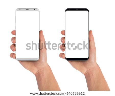 Smartphone in hand, bezel less modern design. Black and white version