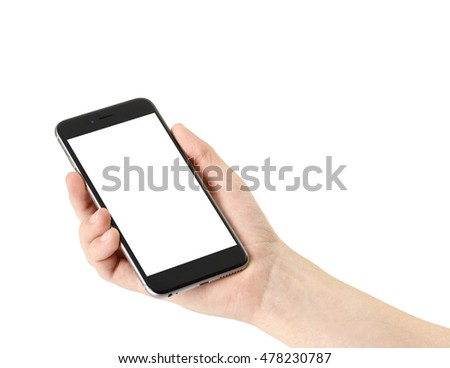 Smartphone in hand on white background, isolated #478230787