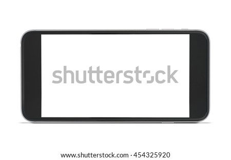 Smartphone is horizontal on white background isolated