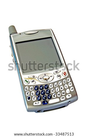 Smartphone isolated over white. A smartphone is a mobile phone offering advanced capabilities beyond a typical mobile phone, often with PC-like functionality