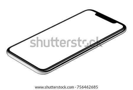 Smartphone lying on surface table or office desk. Isometric smartphone mockup. New modern black frameless smartphone mockup with white screen lying on surface. Isolated on white background.