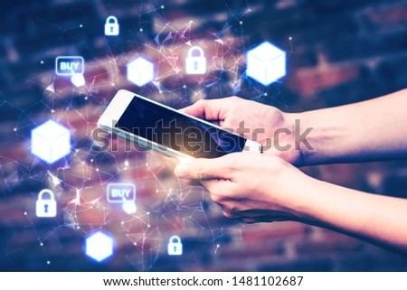 Smartphone mobile application transaction innovation transform blockchain technology online bitcoin banking exchange. Safe trust with fintech shopping efficiency security crypto digital smart contract