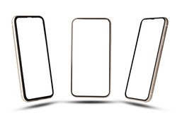 Smartphone mockup , Isolated of Three angles mobile phone with blank screen frame template on white background.