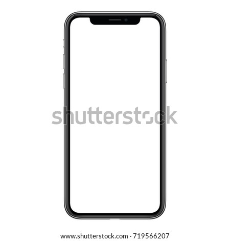 Smartphone mockup. New black frameless smartphone mockup with white screen. Isolated on white background. Based on high-quality studio shot. Smartphone frameless design concept.