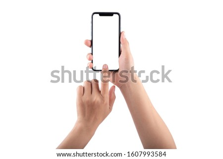 Smartphone mockup. New frameless smartphone mockup with white screen. Isolated on white background. Based on high-quality studio shot. Smartphone frameless design concept.