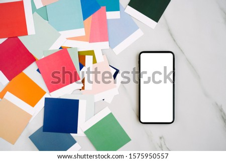 Smartphone mockup with fashion colour swatches. Color trend palette.