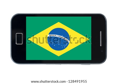 smartphone national flag of brazil on white