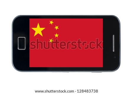 smartphone national flag of china on white