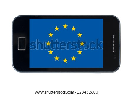 smartphone national flag of europe on white