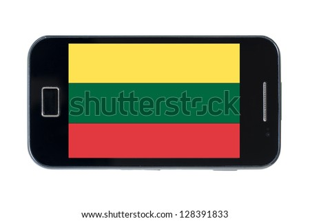 smartphone national flag of lithuania on white