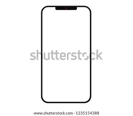 Smartphone on white backgound .Model 3D Rendering #1235154388