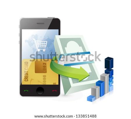 smartphone online shopping concept illustration design over a white background
