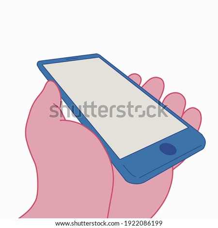 Smartphone placed at an oblique angle on the hand Foto stock ©