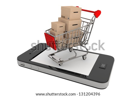Smartphone purchase concept. Smartphone and a shopping cart with boxes on a white background