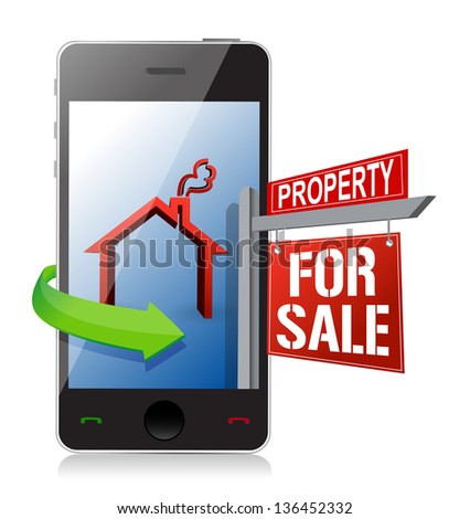 smartphone real estate search and buy concept illustration design over a white background