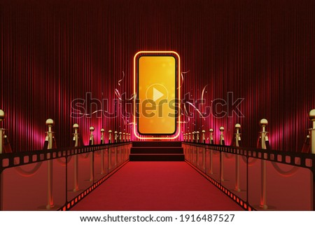 smartphone red carpet entertainment award show social concert online stair stage play light barrier festival live stream. Watching movies cinema online media. hollywood background. 3D Illustration.