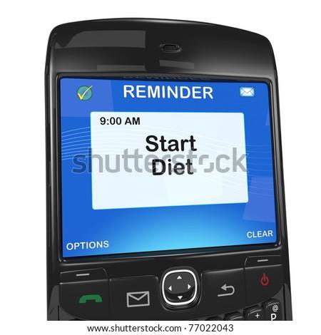 Smartphone reminder, start diet