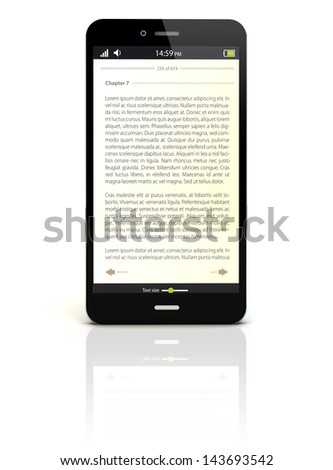 smartphone render with an ebook app on the screen