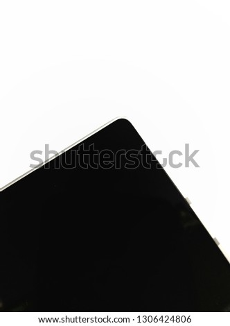 Smartphone screen corner isolated on white background, black and white vector, black and white, all black display #1306424806