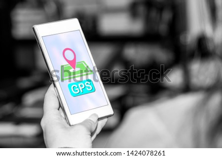 Smartphone screen displaying a gps concept #1424078261
