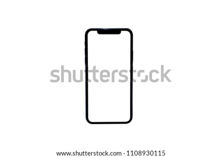 Smartphone similar to iphone xs max with blank white screen for Infographic Global Business Marketing Plan , mockup model similar to iPhonex isolated Background of ai digital investment economy #1108930115