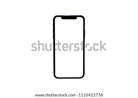 Smartphone similar to iphone xs max with blank white screen for Infographic Global Business Marketing investment Plan, mockup model similar to iPhonex isolated illustration of responsive web design.  #1110422738