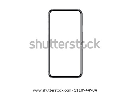 Smartphone similar to iphone xs max with blank white screen for Infographic Global Business Marketing investment Plan, mockup model similar to iPhonex isolated illustration of responsive web design.  #1118944904