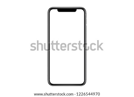 Smartphone similar to iphone xs max with blank white screen for Infographic Global Business Marketing Plan , mockup model similar to iPhonex isolated Background of ai digital investment economy. HD #1226544970
