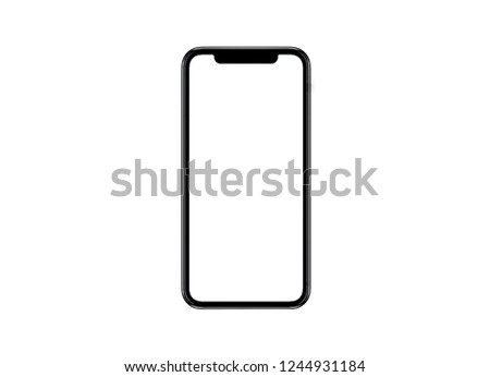 Smartphone similar to iphone xs max with blank white screen for Infographic Global Business Marketing Plan , mockup model similar to iPhonex isolated Background of ai digital investment economy. HD #1244931184