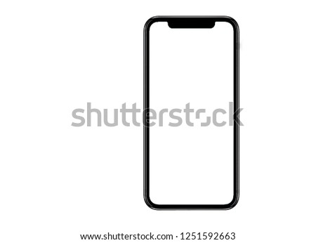 Smartphone similar to iphone xs max with blank white screen for Infographic Global Business Marketing Plan , mockup model similar to iPhonex isolated Background of ai digital investment economy. HD #1251592663