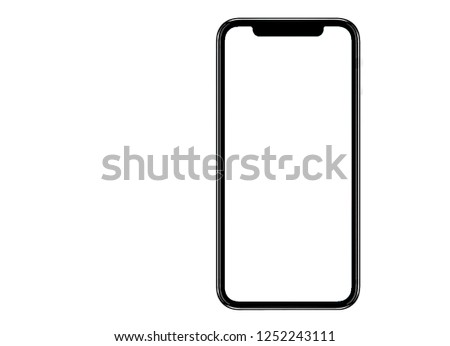Smartphone similar to iphone xs max with blank white screen for Infographic Global Business Marketing Plan , mockup model similar to iPhonex isolated Background of ai digital investment economy #1252243111