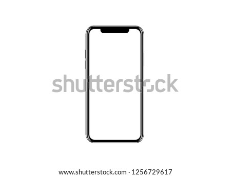 Smartphone similar to iphone xs max with blank white screen for Infographic Global Business Marketing investment Plan, mockup model similar to iPhonex isolated illustration of responsive web design.  #1256729617