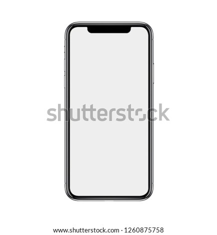 Smartphone similar to iphone xs max with blank white screen for Infographic Global Business Marketing investment Plan, mockup model similar to iPhonex isolated illustration of responsive web design.  #1260875758