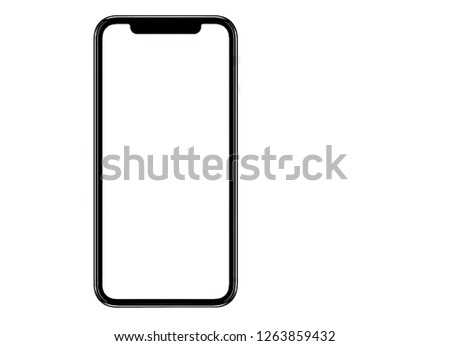 Smartphone similar to iphone xs max with blank white screen for Infographic Global Business Marketing Plan , mockup model similar to iPhonex isolated Background of ai digital investment economy. HD #1263859432