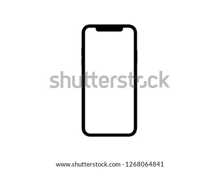 Smartphone similar to iphone xs max with blank white screen for Infographic Global Business Marketing investment Plan, mockup model similar to iPhonex isolated illustration of responsive web design.  #1268064841