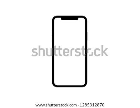 Smartphone similar to iphone xs max with blank white screen for Infographic Global Business Marketing investment Plan, mockup model similar to iPhonex isolated illustration of responsive web design.  #1285312870