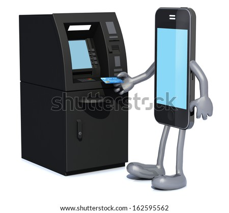 smartphone that is using an ATM, 3d illustration - stock photo