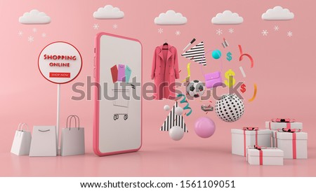 Smartphone to enter content surrounded by shopping bags, shopping carts on background.-3d rendering.