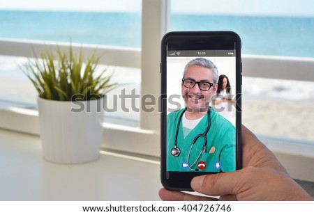 smartphone video call to talk to doctor